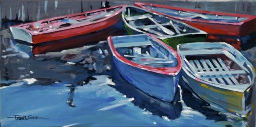 Five Docked Boats